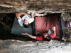 Rock Climbing Photo: Cronin pulling hard on the cool crimps