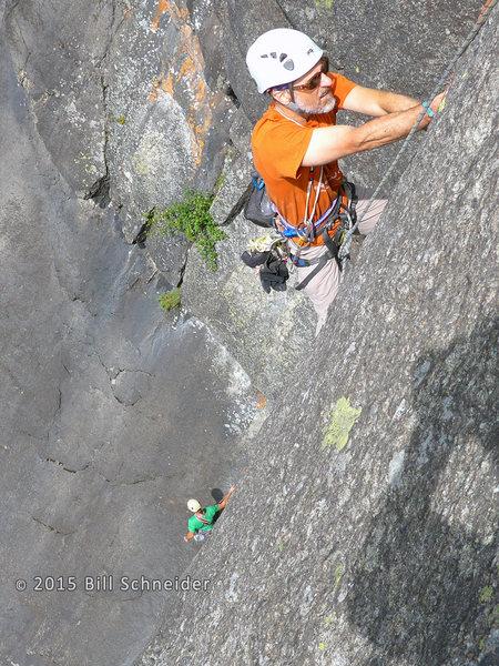 Kevin MudRat MacKenzie climbing P2.