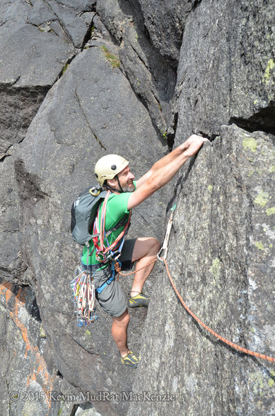 Adam Crofoot during the FA...topping out the crack on P2.