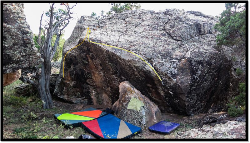 Rock Climbing Photo: Clampdown problem beta in yellow.