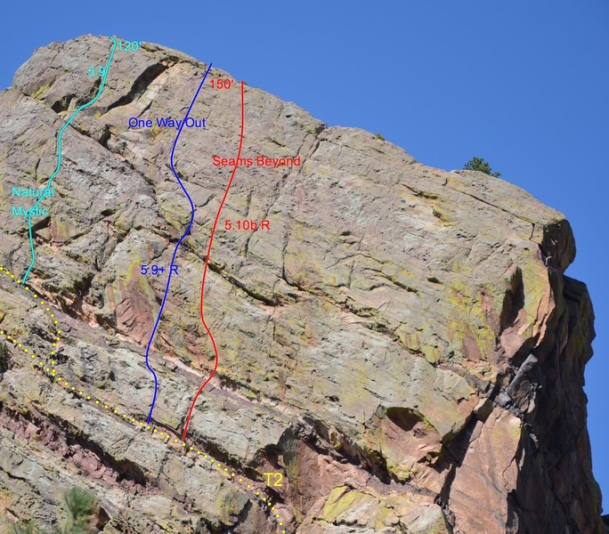 Natural Mystic climbs through the left side of the triangular roof and up the obvious crack system to the summit of Tower 2.