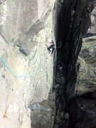 Rock Climbing Photo: Morgan traversing left towards the second bolt.
