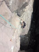 Rock Climbing Photo: Morgan at the second bolt. Crux is approaching the...