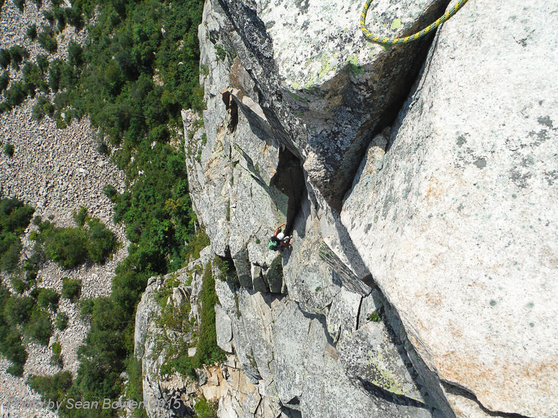 Rock Climbing Photo: Coming up on P2. I'm just a tiny speck on a big mo...