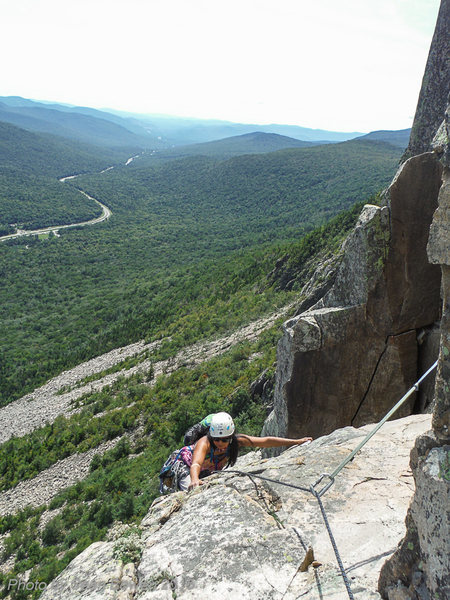 Rock Climbing Photo: Pitch 2. Background, I-93 winds through Franconia ...