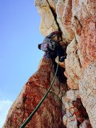 Rock Climbing Photo: Chris Orozco leading out the steep alcove on P8.