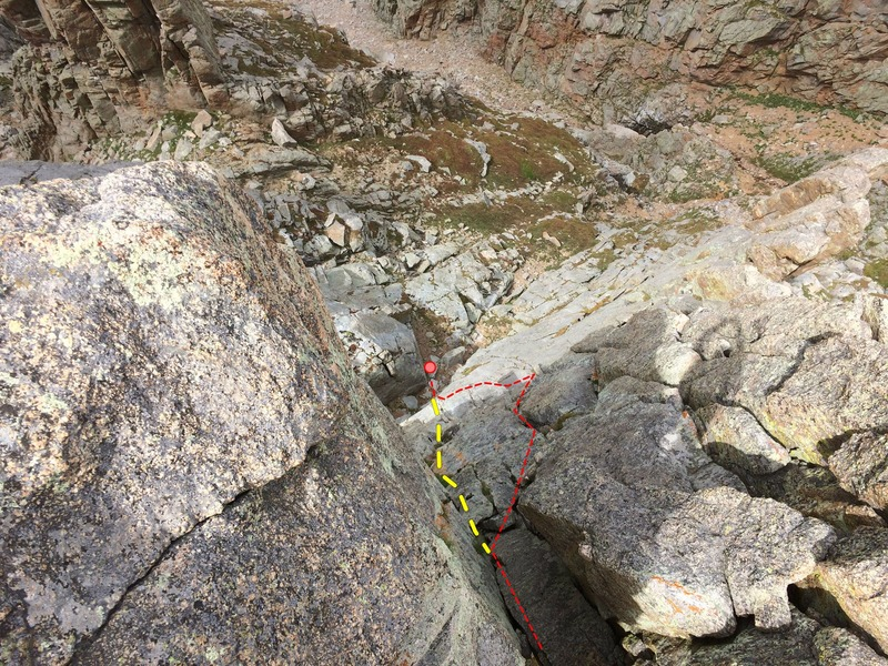 Rock Climbing Photo: Looking down from the summit. Belay behind the bou...