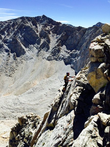Chris Orozco on the summit headwall of Mt Carl Heller. Admittedly, this is not the 3rd class way..