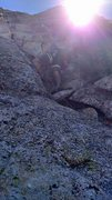Rock Climbing Photo: leading the second or third pitch, really cant rec...
