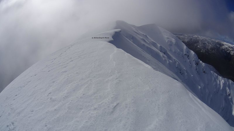 Summit with the Dangerous Cornice, taken during winter ascent