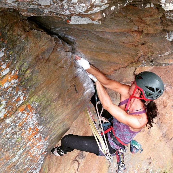 Rock Climbing Photo: Aubrey red pointing Instant Karma on her second go...