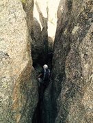 Rock Climbing Photo: Climb down this slot to get from the top of Pin Ro...