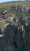 Rock Climbing Photo: Moss and Choss topo. The raps continue to the lake...
