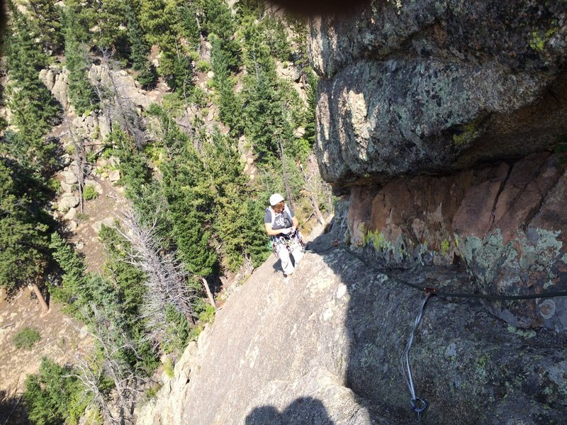 1st pitch Pin Route.  The draw just above the climber is clipped to one of the remaining pins, and the only pin I saw.
