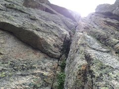 Rock Climbing Photo: Looking up the long dihedral.