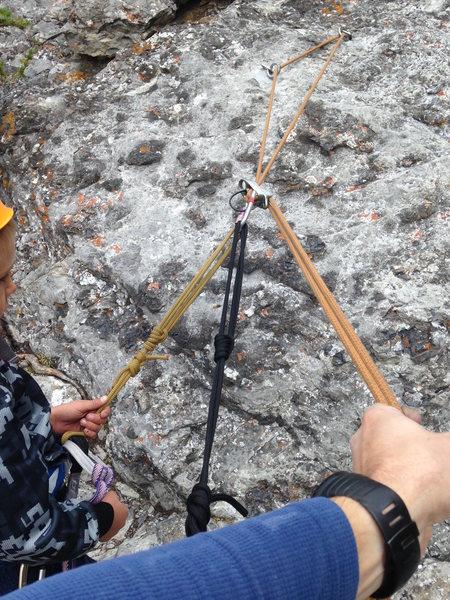 Rock Climbing Photo: Tandem rappel