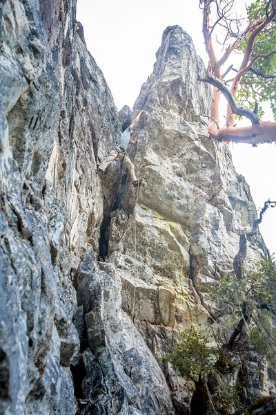 About to pull into the overhang. This is one spot where it may be tempting to try to climb the face above the overhang, in reality it's actually much easier to just swing into the overhang and follow the jugs to the top. <br> <br>