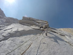 Rock Climbing Photo: Looking up pitch 1, look for obvious crack into a ...