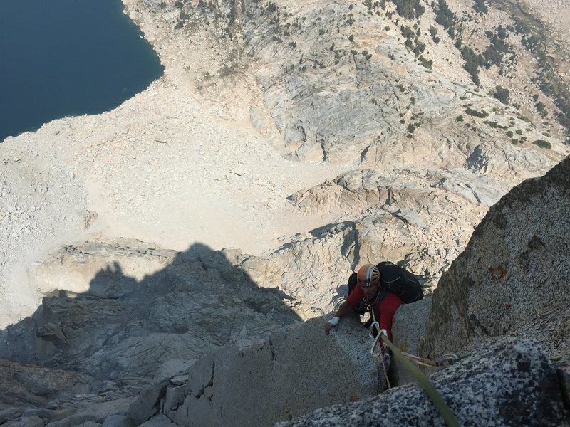 approaching the belay ledge after a whole bunch of OW climbing on Pitch 7