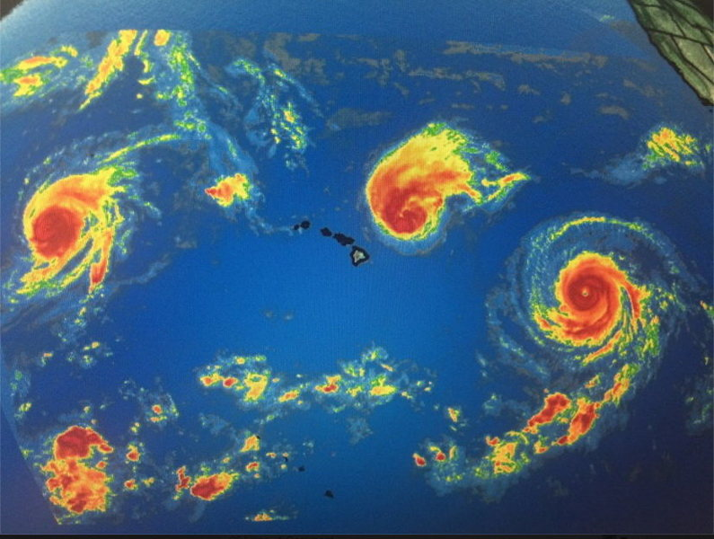 3 hurricanes surrounding Hawaii'i and ANOTHER tropical disturbance born today.<br>
