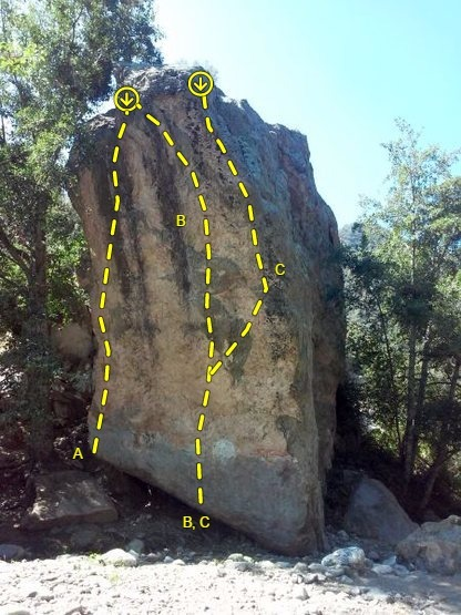 Northeast Face of the Sport Boulder, Thurman Flat<br> <br> A. 5.12c<br> B. Hubris (5.13a)<br> C. 5.12d