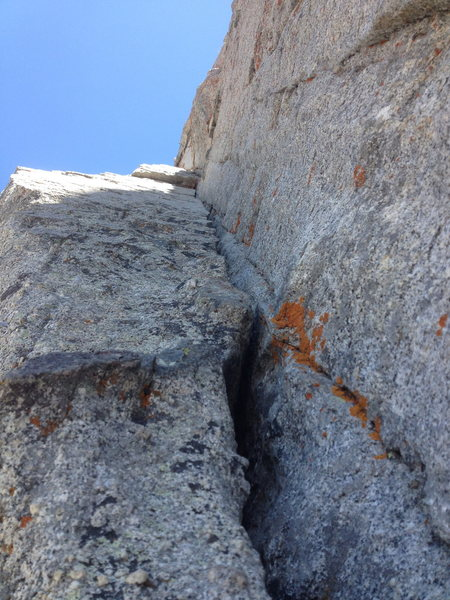 Rock Climbing Photo: Looking up the beautiful corner of pitch 1