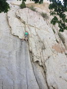 Rock Climbing Photo: Sean rapping down after doing the direct version. ...