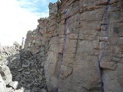 Rock Climbing Photo: Jigsaw Feeling. Right Into the Light. Left Banshee...