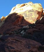 Rock Climbing Photo: The right leaning dihedral in center frame.
