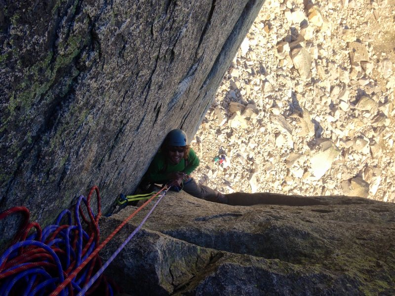 Coming up to the first belay.