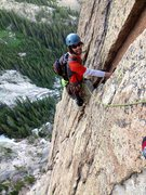 Rock Climbing Photo: Coming up the crack to the bolted belay below the ...