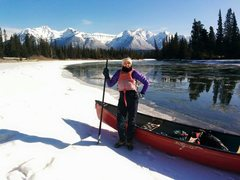 In Canada, we canoe to ice climbs. <br />En route to Professor's Falls outside Banff, Alberta
