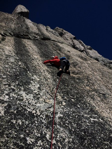 jules OS FA!, just passed the crux section<br>