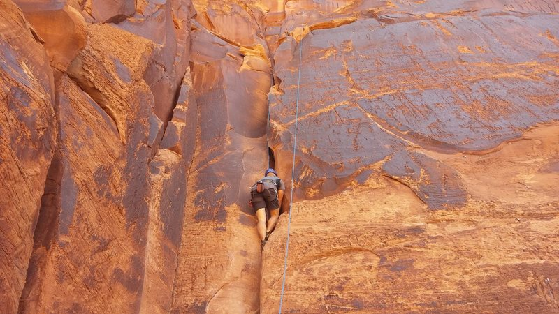 Crack of 5.6 corner at Ice Cream Parlor in Moab.