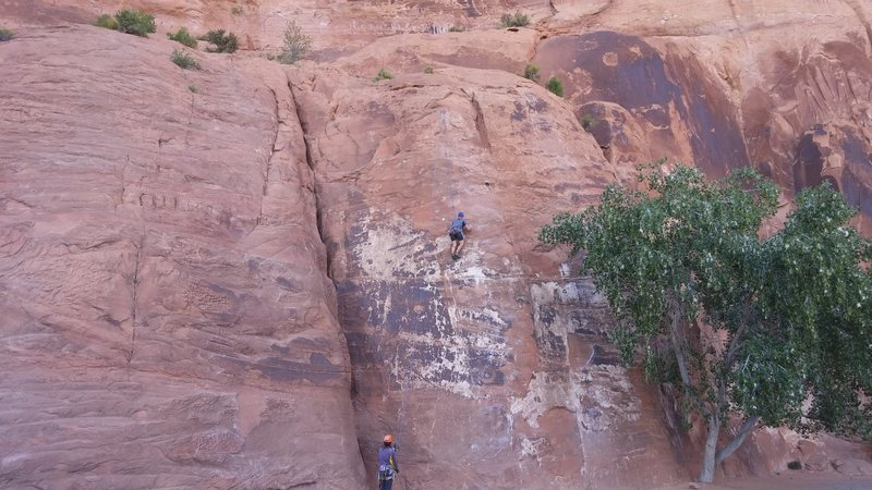 Working my way up Brown Banana at Wall Street in Moab.