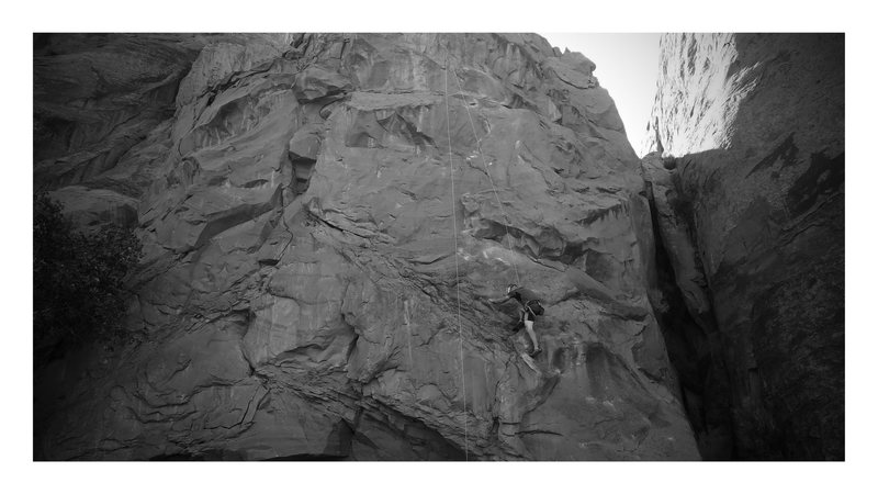 Rock Climbing Photo: Potstash on Wall Street in Moab. Doesn't black and...