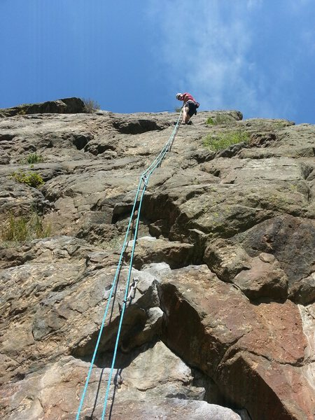 Rapping from Poker Face at the High Wire Crag of CCC.