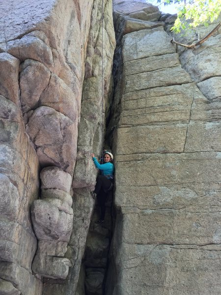 Julianna Johnson tackles her first real life rock in Outer Darkness.