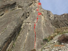 Rock Climbing Photo: Picture of entire route from bottom with topo of a...