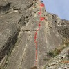 Picture of entire route from bottom with topo of anchors and permanent pro.