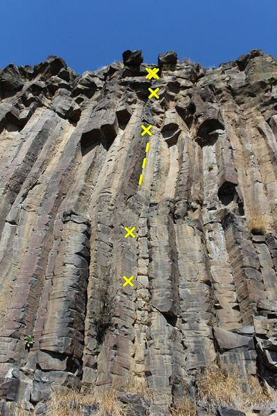 Raptor Arete, bolts marked and trad crack highlighted