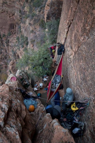 Rock Climbing Photo: Crowded ledge on the Shield.