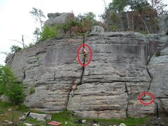 Rock Climbing Photo: Circled shelf boulder is gone and so is the climbe...