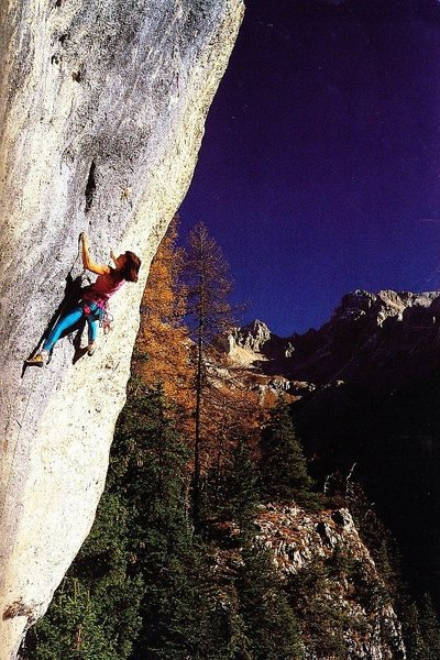 Louisa Iovane on Doping (8a), Val di Nicolo.<br> <br> Photo by Heinz Mariacher.