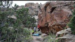 Rock Climbing Photo: The swing start.
