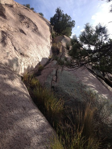 Rock Climbing Photo: The 4th class (feels easier) gully you can go up o...