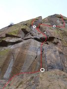 Rock Climbing Photo: This shows the meat of the climbing and the two va...