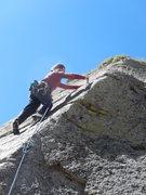 Rock Climbing Photo: Clipping the last bolt.