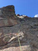 Rock Climbing Photo: Evan cruising up P2 (as seen from P1 anchors).