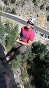 Rock Climbing Photo: Rapping down Toe the Line at Tonnere Tower in Boul...